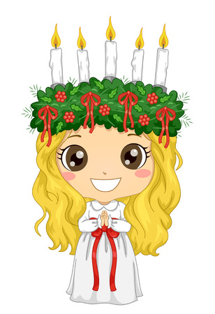 Illustration of a Kid Girl Wearing a Little Lucia Costume for the Feast of Saint Lucia