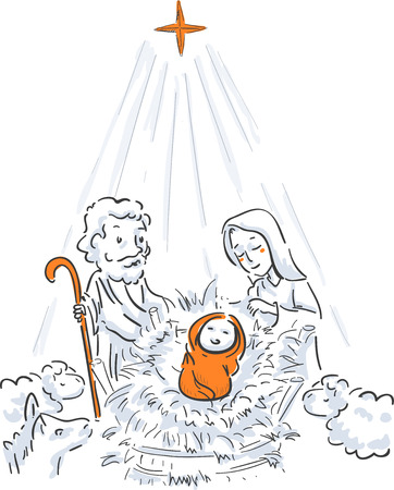 Illustration of the Birth of Jesus Christ, with Joseph and Mary and Animals in the Stable