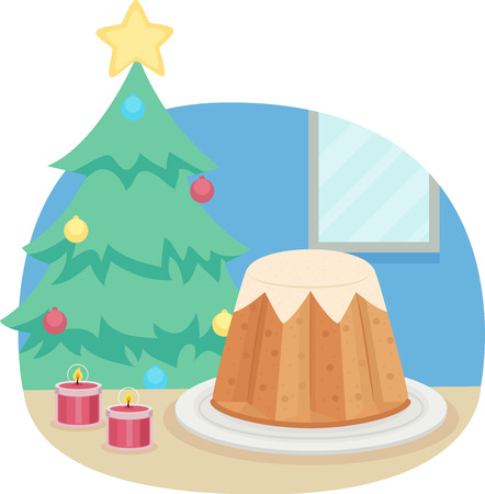 Illustration of a Traditional Pandoro Bread Served During Christmas and New Year