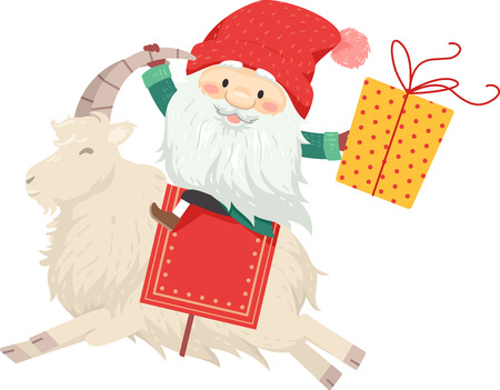 Illustration of a Jul Tomte Riding on the Back of a Yule Goat Carrying a Gift Stock Photo