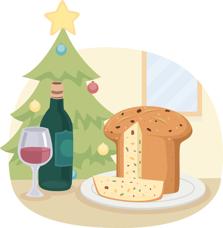 Illustration of a Panettone Bread with a Bottle and a Glass of Wine Served on the Christmas Table