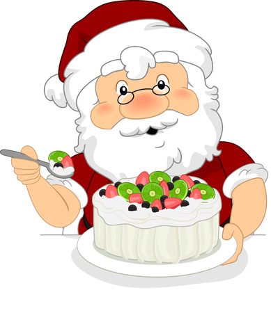 Illustration of Santa Claus Eating a Pavlova Dessert Stock Photo