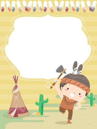 Colorful Background Illustration Featuring a Cute Little Boy Dressed Like a Native American Doing a Little Dance Stock Photo