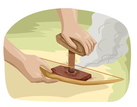 弓ドリルを使って火を作る手のイラスト