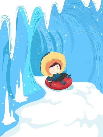 Colorful Illustration Featuring a Cute Little Boy in Winter Clothes Riding a Snow Tube Down an Icy Cave