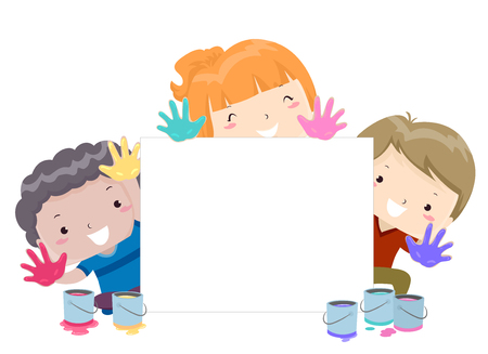 Colorful Illustration Featuring Little Kids Seated Around a Canvas Showing Their Paint Soaked Hands