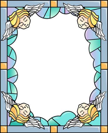 Illustration de cadre coloré avec un vitrail décoré de chérubins endormis