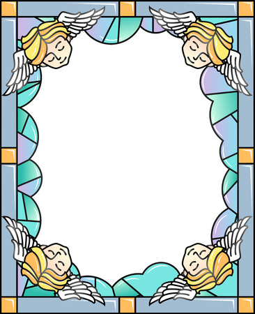 Colorful Frame Illustration Featuring a Stained Glass Decorated With Sleeping Cherubs