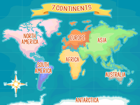 Colorful Illustration Featuring a World Map Highlighting the Seven Continents