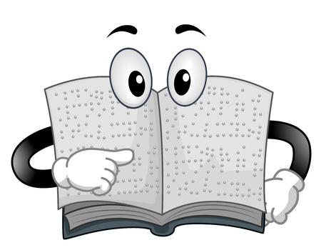 Ilustración de una mascota de libro en Braille hablando con una de sus páginas