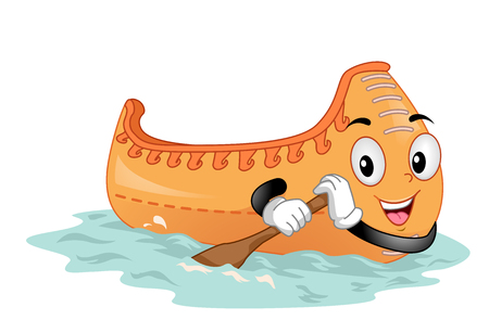 Colorful Mascot Illustration Featuring a Canoe  Using a Paddle to Move Itself Forward