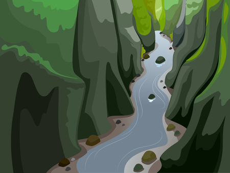 Colorful Landscape Illustration Featuring a River Sandwiched Between Towering Cliffs