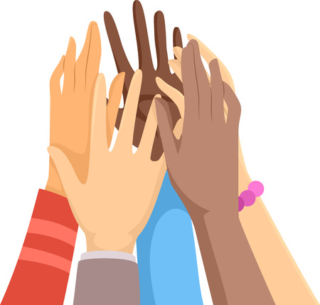 Illustration of Hands Going for a High Five as a Group or Team