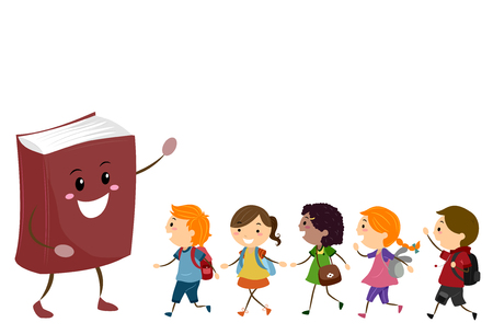 Illustration of Stickman Kids Students Walking Towards a Book Mascot Stock Photo