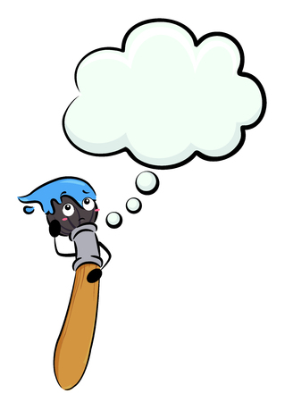 Illustration of a Paint Brush with Blue Paint with a Blank Thinking Cloud Stock Photo