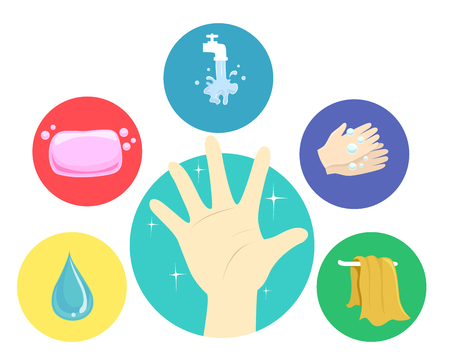 Illustration of a Hand with Hand Washing Steps from Water, Soap, Faucet, Rubbing Hands with Bubbles and Dry Towel 스톡 콘텐츠