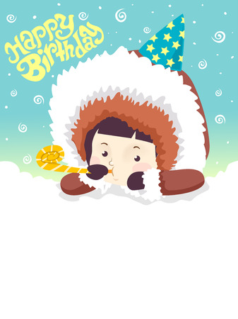 Colorful Background Illustration Featuring a Cute Little Boy in Winter Clothes With the Words Happy Birthday Written Above Him