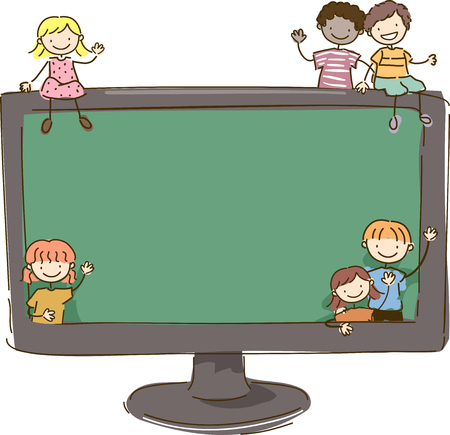 Colorful Stickman Illustration Featuring Little Kids Scattered Around a Giant Monitor Stock Photo