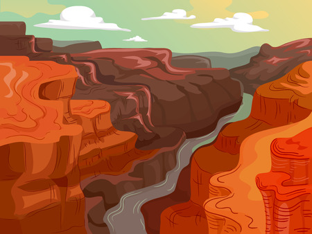 Colorful Landscape Illustration Featuring a River Running Between Large Canyons