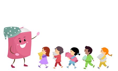 Illustration of Stickman Kids in Pajamas Walking Towards a Story Book