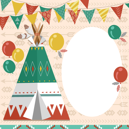 Colorful Illustration Featuring a Tipi Surrounded by Buntings and Balloons Stock Photo