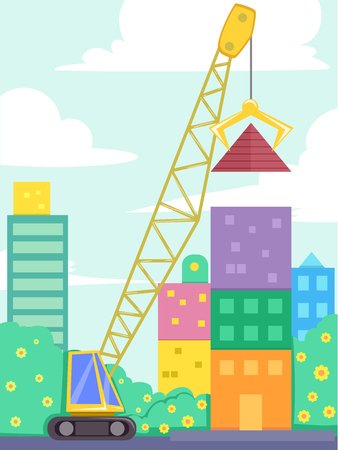 Colorful Illustration Featuring a Tall Crane Lifting a Giant Pyramid Off the Ground Stock Photo