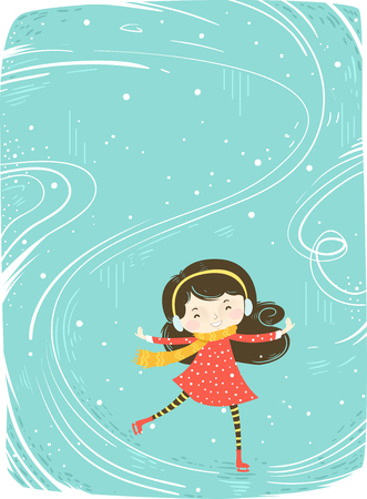 Colorful Background Illustration Featuring a Cute Little Girl in Winter Clothes Skating on Ice Stock Photo