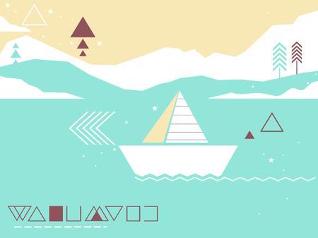 Colorful Background Illustration Featuring a Seascape Decorated With Geometric Lines and Shapes