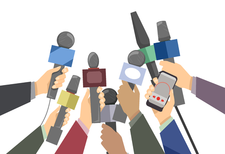 Illustration of Hands of Journalists Holding Microphones for a Live Interview Stock Photo