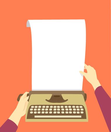 Illustration of Hands Placing a Blank White Paper In a Typewriter