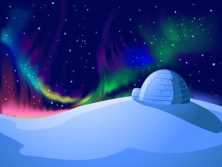 Kleurrijke achtergrond afbeelding met Auroras dansen op een besneeuwde berg Stockfoto