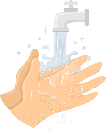 Illustration of Cleaning Hands Under Running Water from Tap