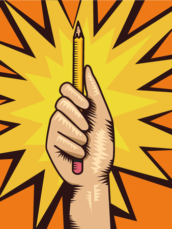 Illustration of a Hand Holding a Pencil Up as a Symbol for Lets Write Comics