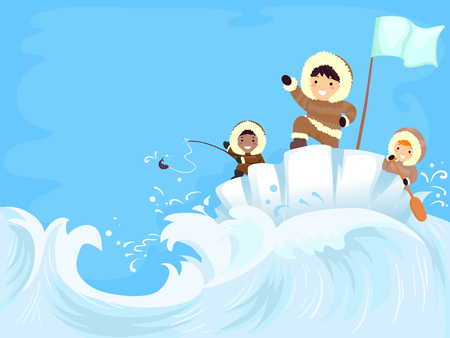Colorful Background Illustration Featuring Stickman Kids in Parkas Fishing on Frozen Seas Stock Photo