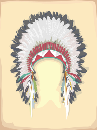 Illustration Featuring an Elaborate Native American Headdress Made from Feathers