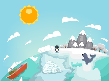 Colorful Illustration Featuring an Arctic Country Inhabited by a Penguin and a Seal Stock Photo