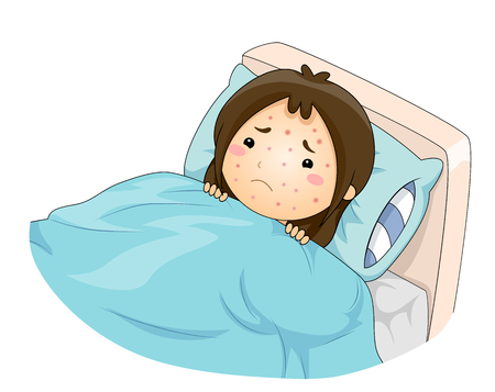 Illustration of a Sad Kid Girl In Bed with Chicken Pox