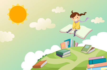 Illustration of a Stickman Kid Girl Riding a Book in the Sky