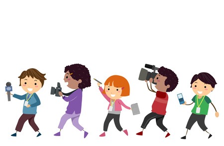 Illustration of Stickman Kids Holding a Mic, Camera, Notebook, Video Camera and a Recorder