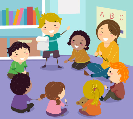 Illustration of Stickman Kids Sitting in a Circle Reading a Poem in Class