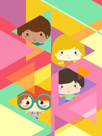 Background Illustration of Kids Inside Triangles Design