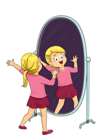 Illustration of a Kid Singing, Acting and Practicing in the Mirror