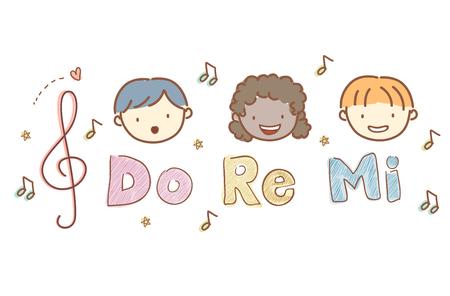 Ilustracja Stickman Kids Heads Singing Re Re Mi, z nutami
