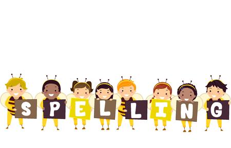 子供たちがバッターのイラスト単語のスペルを形成するバナーを保持している身に着けている蜂衣装 写真素材