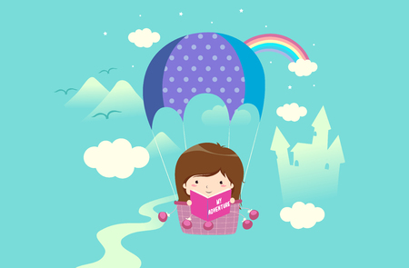 Illustration of a Kid Girl on a Hot Air Balloon Holding Her Adventure Book