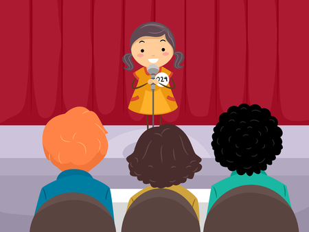 Illustration of a Stickman Kid Girl in the Stage in Front of Judges for an Audition