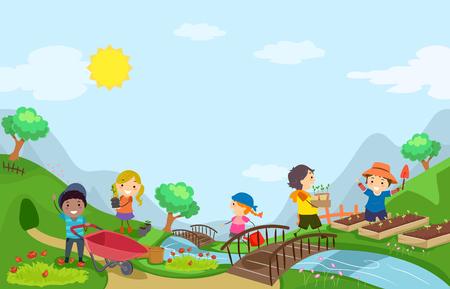 Illustratie van Stickman Kids Outdoors Gardening