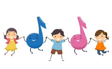 Illustration of Stickman Kids Jumping with Music Notes Mascots