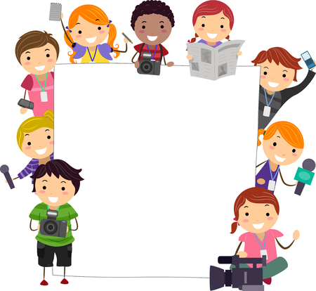 Illustration of Stickman Kids Holding Camera, Mic, Newspaper and Notes with Blank Board Stockfoto