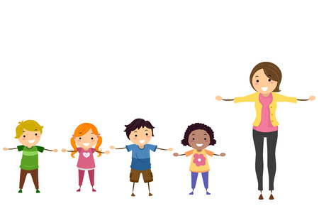 Illustration of Stickman Kids and their Teacher with Arms Up Sideward or Sideways Stock Photo